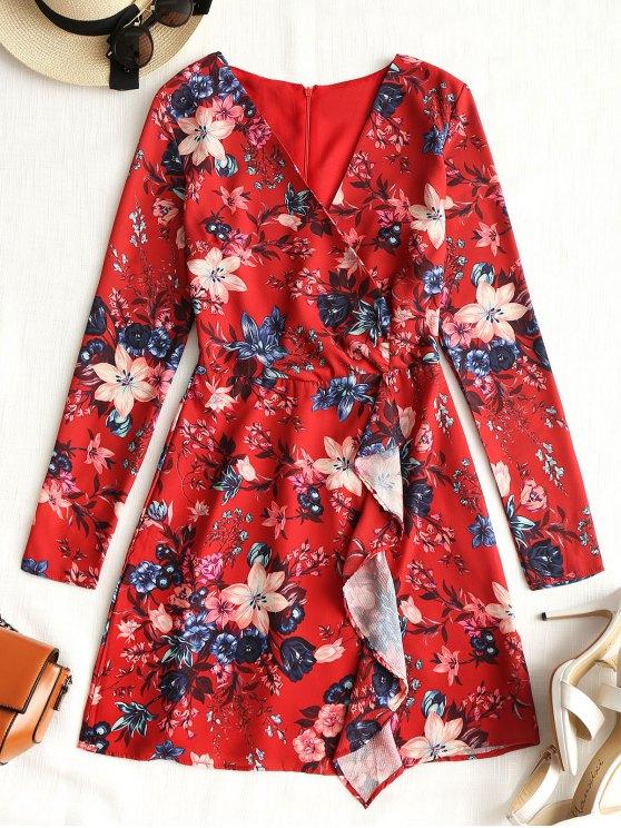 اللباس ميني  كم طويل نقشه زهور - أحمر L
