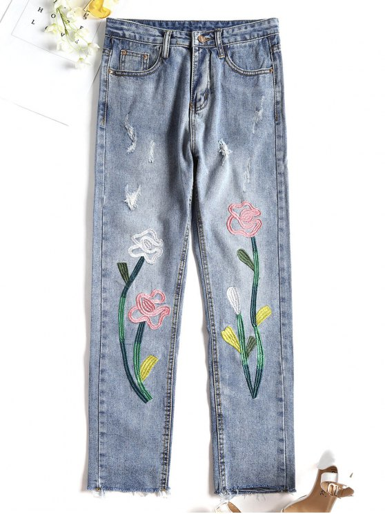 lady Distressed Cut Off Embroidered Jeans - DENIM BLUE L