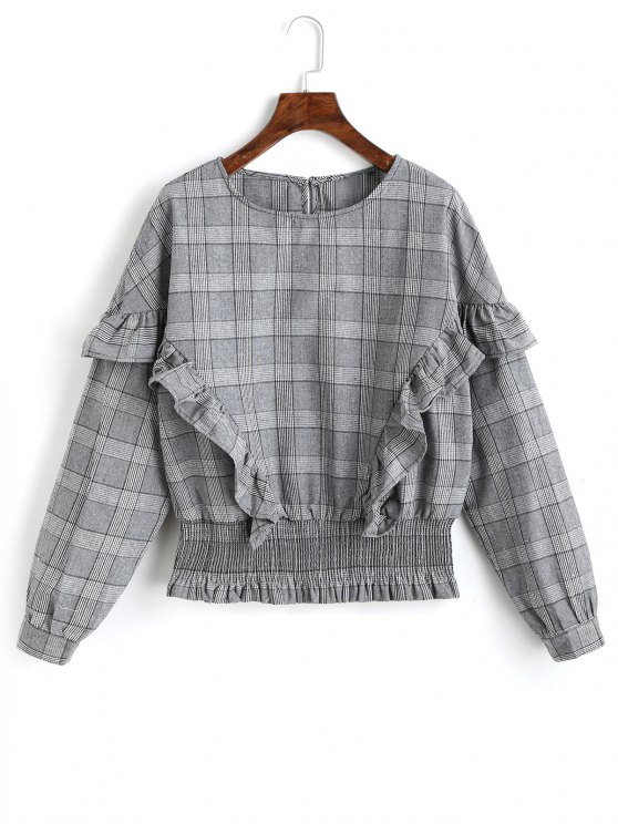unique Smocked Panel Plaid Ruffles Blouse - GRAY L