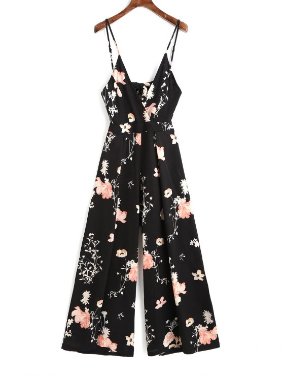 outfits Cami Tied Cut Out Floral Jumpsuit - BLACK M