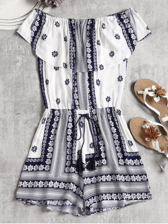 womens Ruffles Tribal Off Shoulder Romper - WHITE L