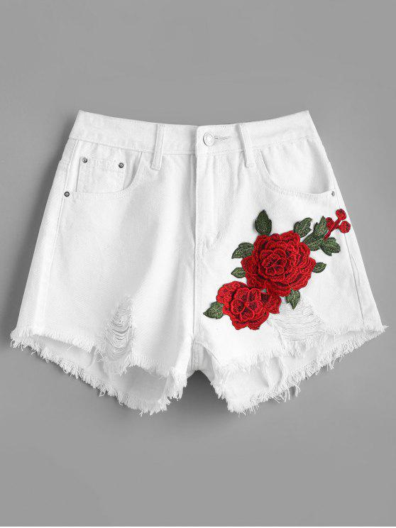 Short Denim Usé à Patch Floral - Blanc L