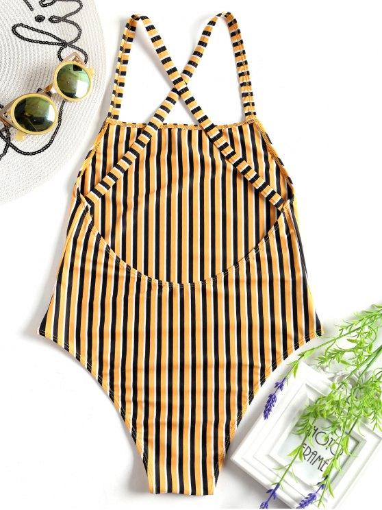 fancy Unlined Striped One Piece Swimsuit - YELLOW S
