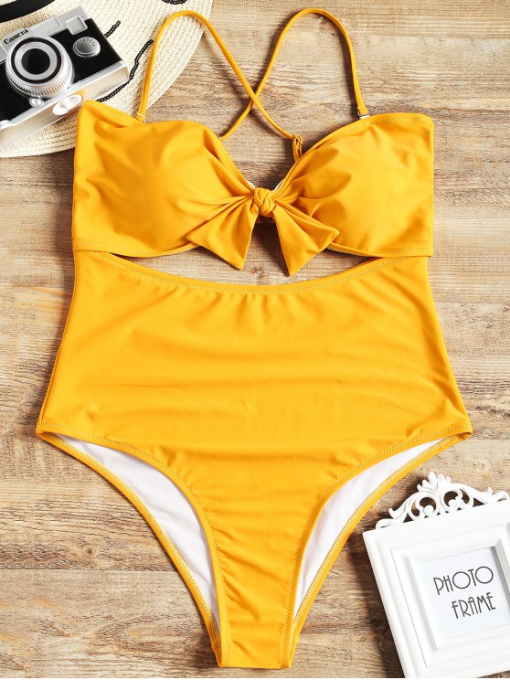 fancy Cut Out Plus Size One Piece Swimsuit - YELLOW 2XL