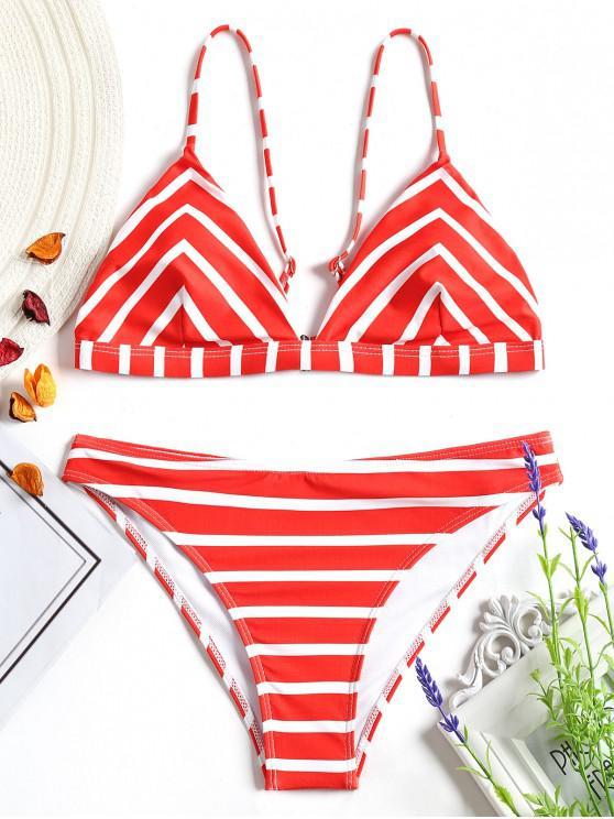 Set Di Bikini Cami Di Chevron A Righe - Rosso e Bianco M