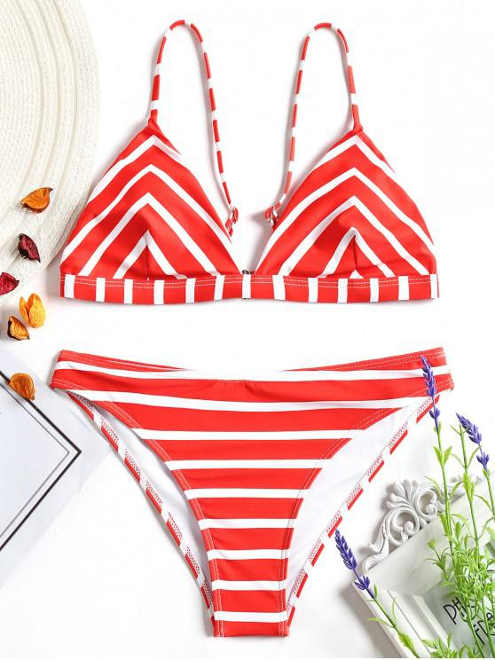 Set Di Bikini Cami Di Chevron A Righe - Rosso e Bianco S