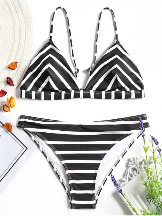 unique Chevron Striped Cami Bikini Set - WHITE AND BLACK M
