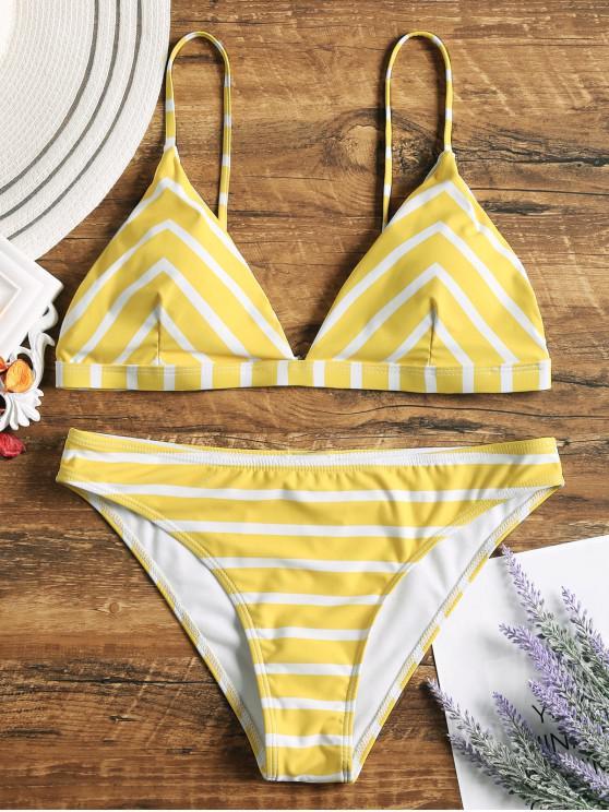ladies Chevron Striped Cami Bikini Set - WHITE AND YELLOW L