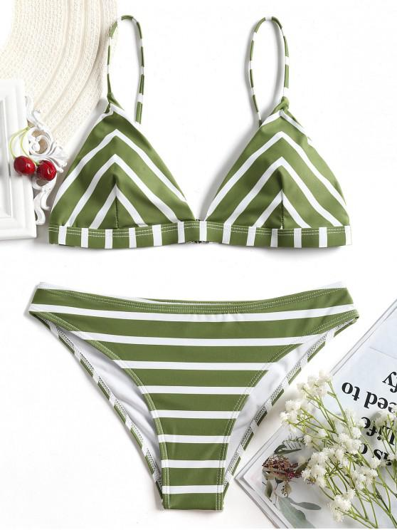 buy Chevron Striped Cami Bikini Set - WHITE AND GREEN S