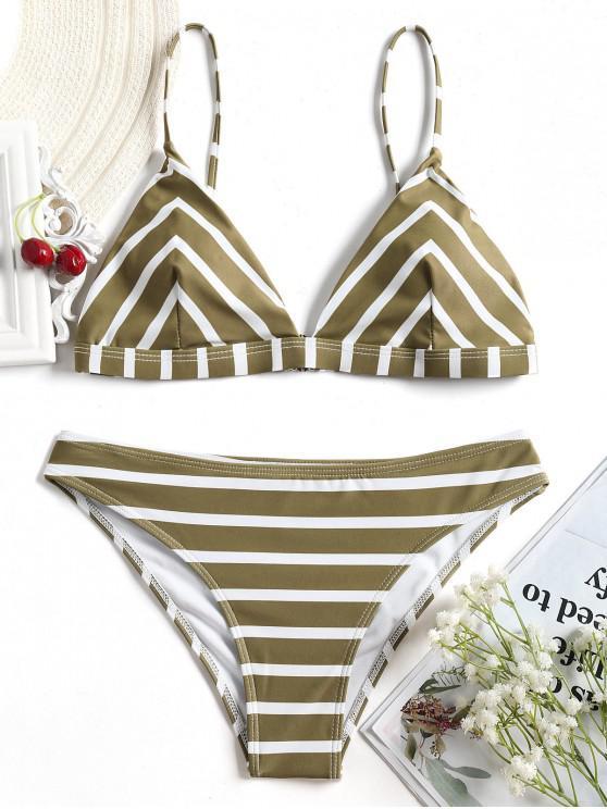 latest Chevron Striped Cami Bikini Set - WHITE AND BROWN M