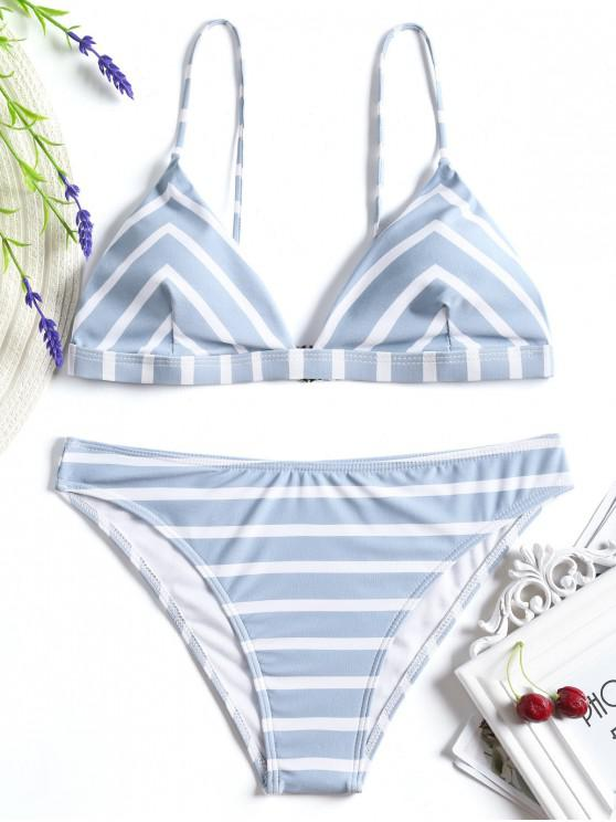 Set Di Bikini Cami Di Chevron A Righe - Blu e Bianco L