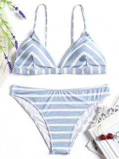 Chevron Striped Cami Bikini Set - Blue And White L