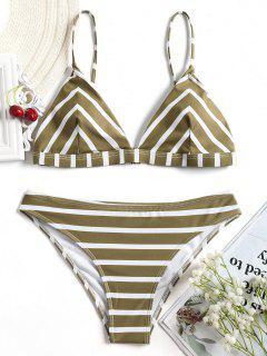 V Form Streifen Cami Bikini Set - Weiß Und Braun M