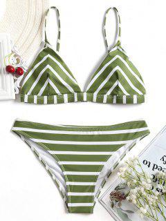 Chevron Striped Cami Bikini Set - White And Green M
