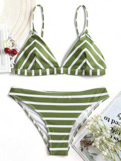 Chevron Striped Cami Bikini Set - White And Green S