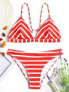 Chevron Striped Cami Bikini Set - Red And White L