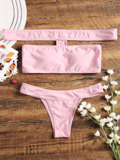 Aus Dem Shoulder Thong Bikini Set - Pink S