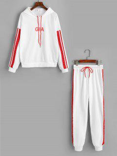 Ribbons Trim Letter Hoodie And Sports Pants Set - White L