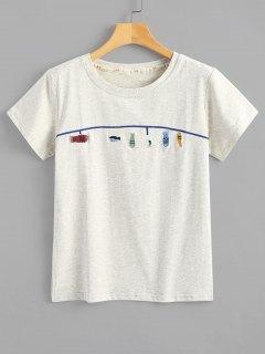 Niedliches Fisch-gesticktes T-Shirt - Hellgrau