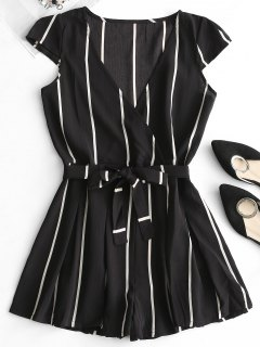 Plunging Neck Striped Belted Romper - Black L