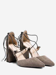 Chunky Heel Lace Up Pumps - Gray 39