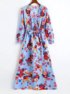 Plunging Neck Slit Floral Belted Maxi Dress - Windsor Blue S