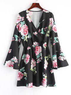 Floral Flared Sleeve Mini Dress - Black L