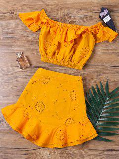 Off  Shoulder Mini Skirt Two Piece Set - Orange M