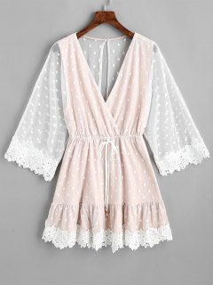 Crochet Panel Gauze Polka Dot Mini Dress - Nude Pink L