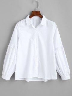 Camisa De Perlas De Imitación De Manga De Linterna - Blanco L