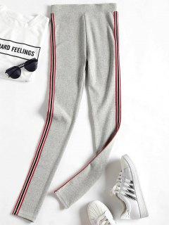 Side Stripe Workout Pants - Light Gray