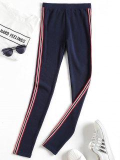 Side Stripe Workout Pants - Purplish Blue
