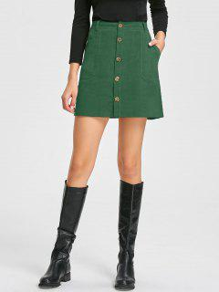 Patch Pockets A-line Corduroy Skirt - Green L