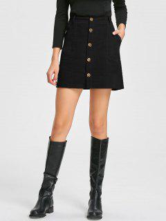 Patch Pockets A-line Corduroy Skirt - Black L