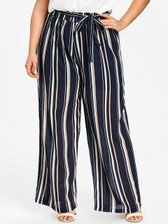 Pantalon Rayé De Grande Taille Palazzo - Bleu Foncé 2xl