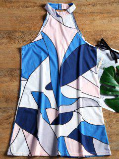 Robe Courte Imprimée Géométrique Découpée Sans Manches - Bleu S
