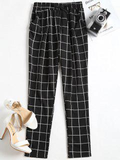 High Waist Drawstring Checked Pants - Black M