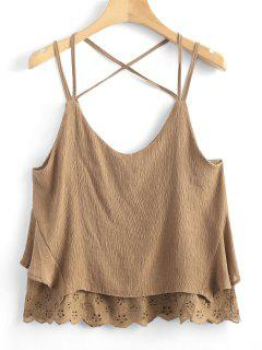 Hollow Out Criss Cross Cami Top - Light Brown