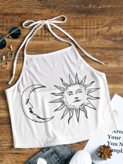 Halter Sun And Moon Print Crop Top - White L