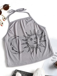 Halter Sun And Moon Print Crop Top - Gray S