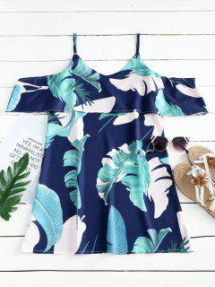 Robe Courte Imprimée Feuilles à Bretelles - Bleu Profond S