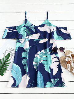 Leaves Print Cami Shift Mini Dress - Deep Blue S