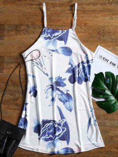 Robe Courte à Bretelles Imprimée Florale - Blanc M
