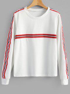 Sweat-shirt Rayé à Col Ras Du Cou - Blanc Xl