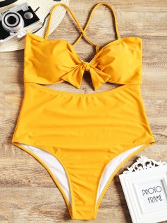 Cut Out Plus Size One Piece Swimsuit - Yellow 3xl