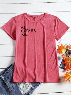 Camiseta Con Impresión De Carta De Cuello Redondo - Peach Red S