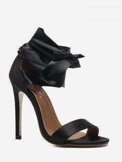 Tie Leg Stiletto Heel Sandals - Black 40
