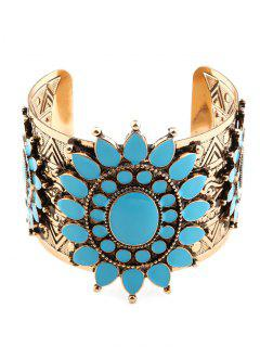 Vintage Roman Pattern Floral Cuff Bracelet - Golden
