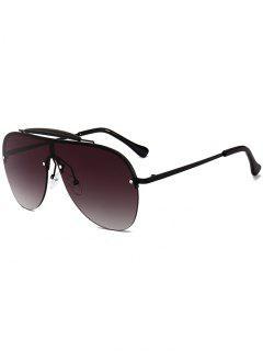 Anti-fatigue Crossbar Decorated Shield Sunglasses - Black+gradual Grey