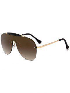Gafas De Sol De Escudo Decoradas Con Travesaño Anti Fatiga - Marrón Oscuro